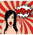 Angry sexy brunette girl pop art vector image vector image