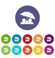 Family under umbrella set icons vector image
