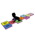 child on hopscotch silhouette vector image