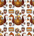 Seamless background design with viking theme vector image