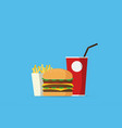 burger with drinks and french fries vector image
