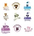 Pet grooming logo set vector image