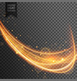dynamic gold wave with sparkles on transparent vector image