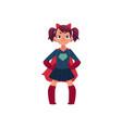 little girl in superhero costume and devil horns vector image