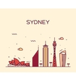 Sydney skyline trendy linear vector image