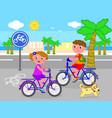 boy and girl on bike vector image
