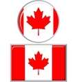 Canadian round and square icon flag vector image