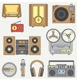 Line flat icon set with retro electrical vector image