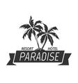 Paradise island resort hotel logo vector image