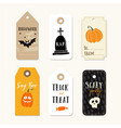 set of cute halloween gift tags labels with vector image