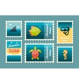 Diving stamp set Summer Vacation vector image