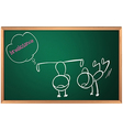 A blackboard with a drawing of two boys vector image vector image