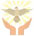 hand with holy spirit catholic vector image