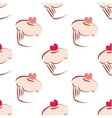 Tile pattern pink cupcakes on white background vector image