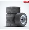 Car tires and wheel at warehouse vector image