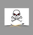 drawing skull on white paper vector image
