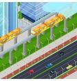 Isometric Monorail Railway Train in Modern City vector image