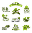 save earth planet ecology protection icons vector image vector image