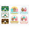 Sweet cupcake bakery badge label logo vector image