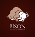 Bison sign brown background vector image