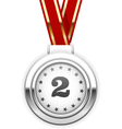 Winner silver medal on ribbon - second place vector image