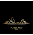 Gold silhouette of Portland on black background vector image vector image