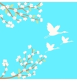 background with sakura and cranes vector image