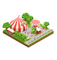 circus tent in park isometric composition vector image