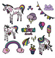 unicorn design elements set vector image