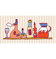 Wine bottle shelf home design vector image