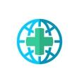 World globe medical travel insurance logo vector image