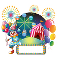 A clown with balloons near the empty signage vector image vector image