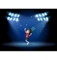 A young boy playing tennis at the stage vector image
