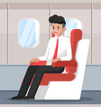 businessman sitting and relax on the plane vector image