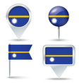 Map pins with flag of Nauru vector image