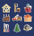 Lumberjack Icons vector image