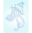 blue line drawing of sea monster underwater vector image