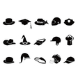 collection of various black hat Silhouettes vector image