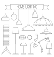 Home lamps thin line icons vector image