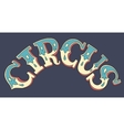 lettering inscription CIRCUS on dark blue vector image