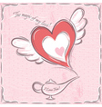 pink valentine card with heart and magic lamp vector image