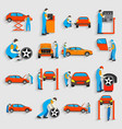 Set of auto mechanic car service repair and vector image