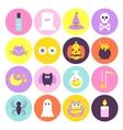 Trendy Halloween Circle Icons Set vector image