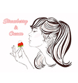 Pretty girl with long hair eating strawberry cream vector image vector image