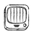 monochrome sketch of square button with old vector image