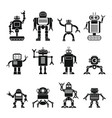 robots set in cartoon flat design vector image