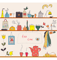 Tea time at the kitchen shelves vector image
