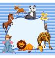Wild animals around striped border vector image
