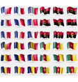 France Angola Chad Cameroon Set of 36 flags of the vector image