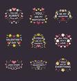 Set of Floral Decorative Badges and Frames on vector image